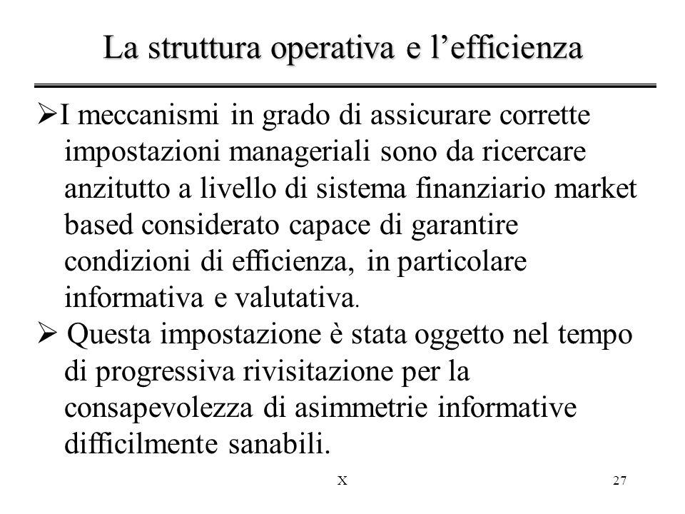 X27  I meccanismi in grado di assicurare corrette impostazioni manageriali sono da ricercare anzitutto a livello di sistema finanziario market based considerato capace di garantire condizioni di efficienza, in particolare informativa e valutativa.