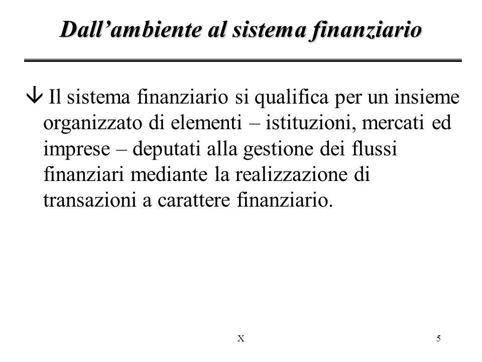 X5 â Il sistema finanziario si qualifica per un insieme organizzato di elementi – istituzioni, mercati ed imprese – deputati alla gestione dei flussi finanziari mediante la realizzazione di transazioni a carattere finanziario.