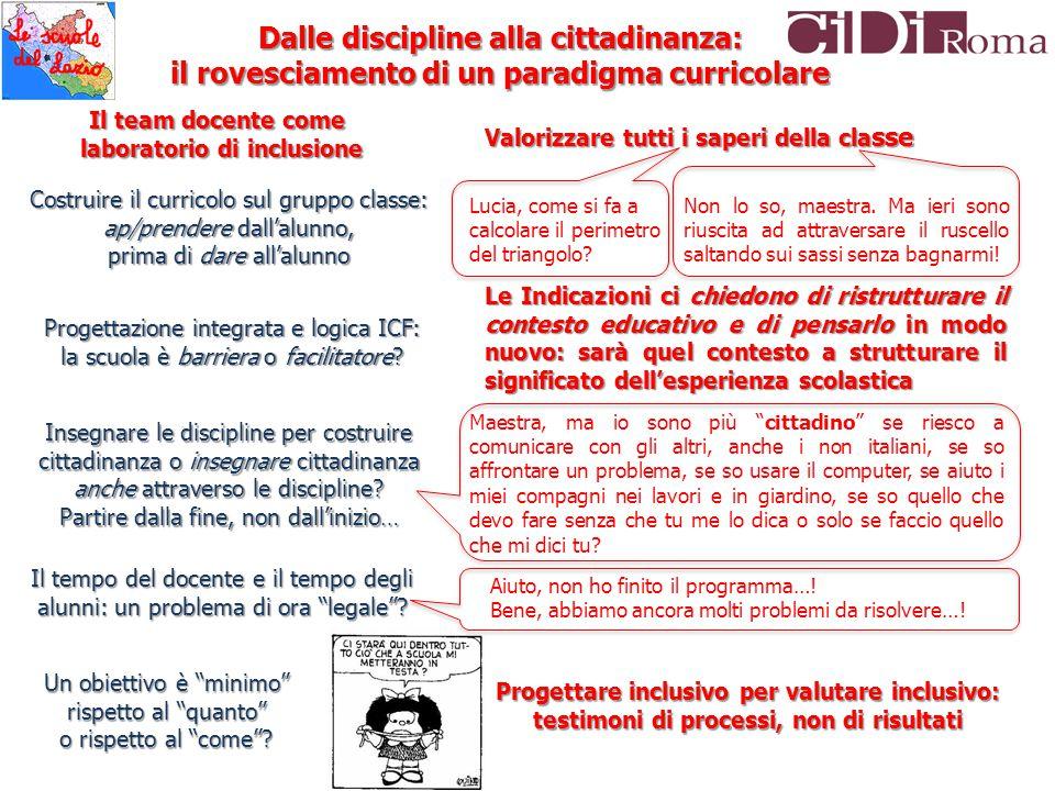 Progettare inclusivo per valutare inclusivo: testimoni di processi, non di risultati Dalle discipline alla cittadinanza: il rovesciamento di un paradi