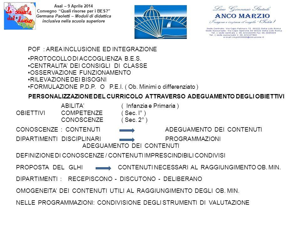 POF : AREA INCLUSIONE ED INTEGRAZIONE PROTOCOLLO DI ACCOGLIENZA B.E.S. CENTRALITA' DEI CONSIGLI DI CLASSE OSSERVAZIONE FUNZIONAMENTO RILEVAZIONE DEI B