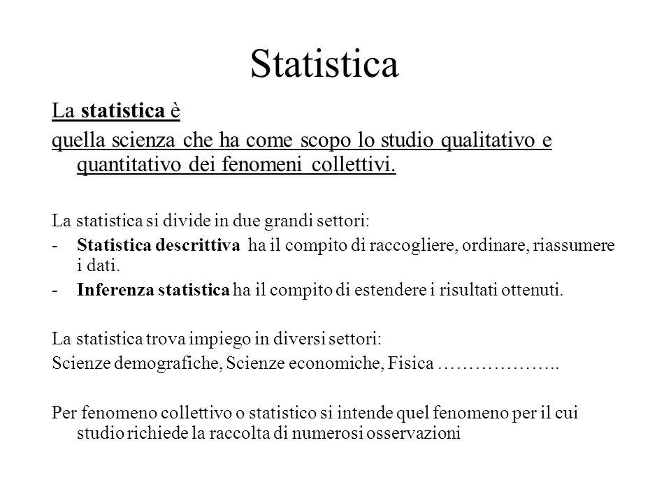 Statistica La statistica è quella scienza che ha come scopo lo studio qualitativo e quantitativo dei fenomeni collettivi. La statistica si divide in d