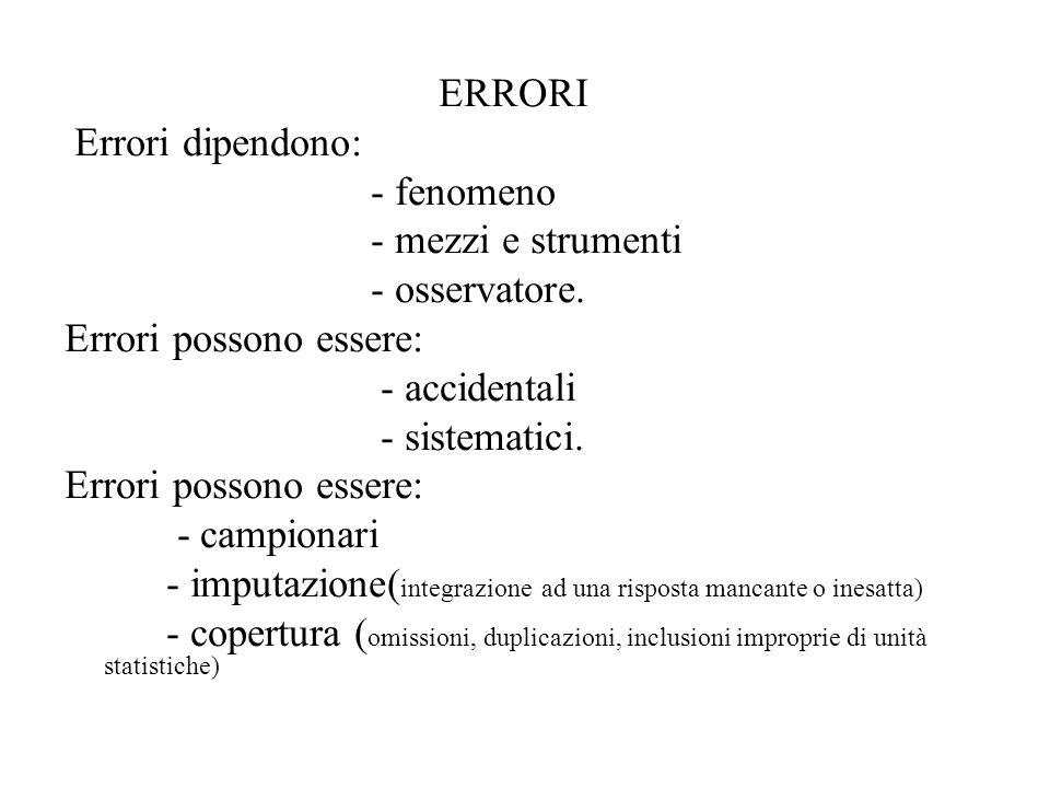 ERRORI Errori dipendono: - fenomeno - mezzi e strumenti - osservatore. Errori possono essere: - accidentali - sistematici. Errori possono essere: - ca