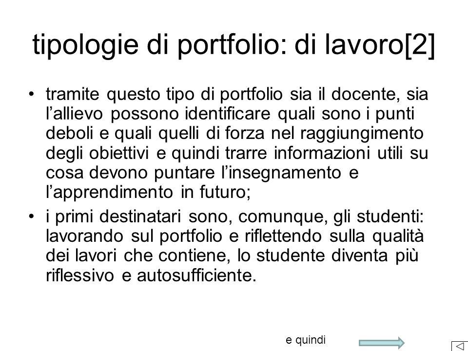 Dal punto di vista del docente l'uso di questa pratica valutativa consente di raggiungere alcuni obiettivi: [] Pellerey M., Le Competenze individuali e il portfolio, 2007, La Nuova Italia, pag.