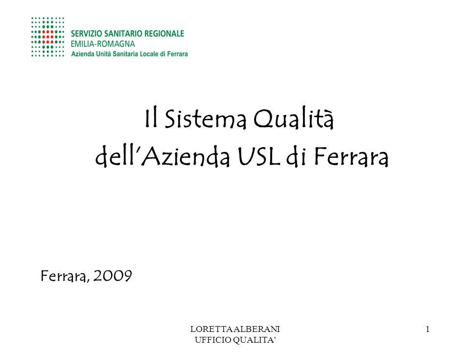 LORETTA ALBERANI UFFICIO QUALITA 1 Il Sistema Qualità dell'Azienda USL di Ferrara Ferrara, 2009