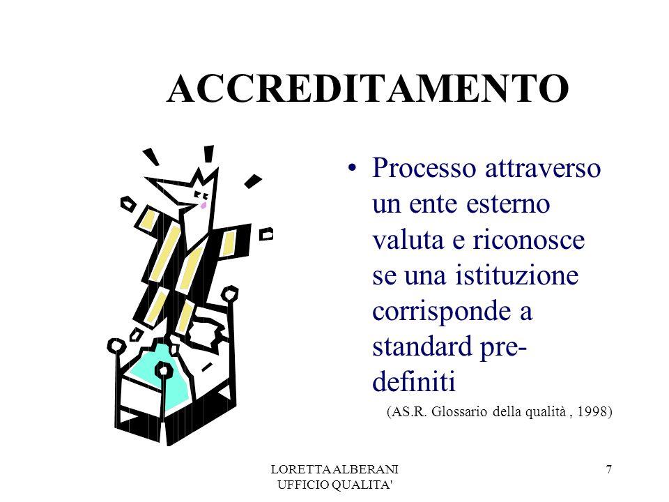 LORETTA ALBERANI UFFICIO QUALITA 7 ACCREDITAMENTO Processo attraverso un ente esterno valuta e riconosce se una istituzione corrisponde a standard pre- definiti (AS.R.