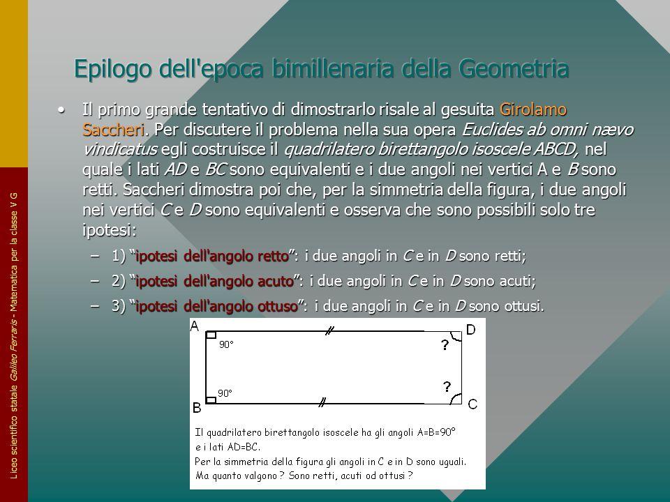 Liceo scientifico statale Galileo Ferraris - Matematica per la classe V G Il primo grande tentativo di dimostrarlo risale al gesuita Girolamo Saccheri