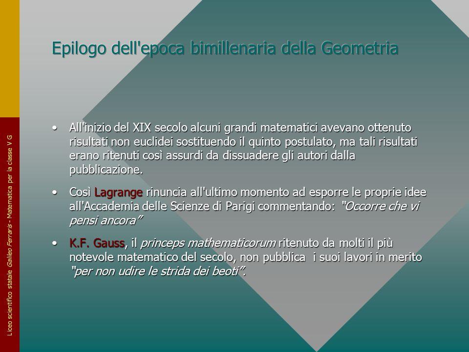 Liceo scientifico statale Galileo Ferraris - Matematica per la classe V G All'inizio del XIX secolo alcuni grandi matematici avevano ottenuto risultat