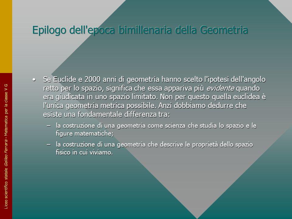 Liceo scientifico statale Galileo Ferraris - Matematica per la classe V G Se Euclide e 2000 anni di geometria hanno scelto l'ipotesi dell'angolo retto