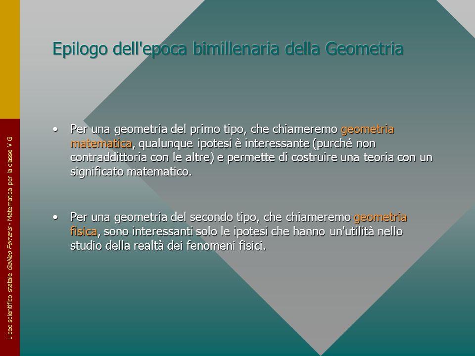 Liceo scientifico statale Galileo Ferraris - Matematica per la classe V G Per una geometria del primo tipo, che chiameremo geometria matematica, qualu