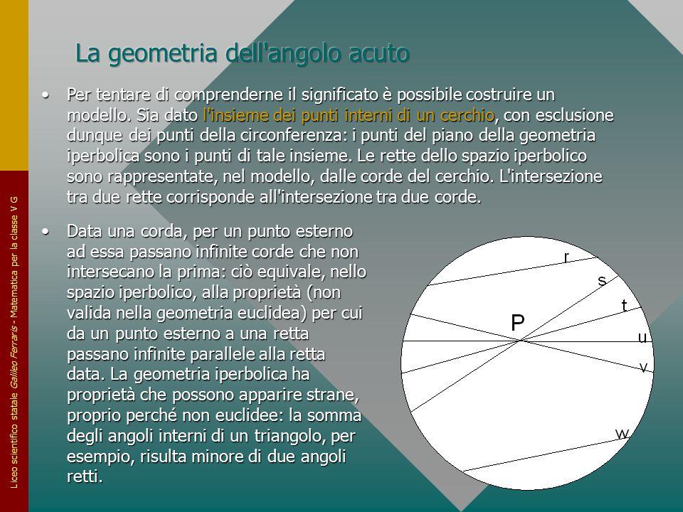 Liceo scientifico statale Galileo Ferraris - Matematica per la classe V G Data una corda, per un punto esterno ad essa passano infinite corde che non