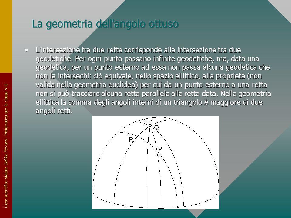 Liceo scientifico statale Galileo Ferraris - Matematica per la classe V G L'intersezione tra due rette corrisponde alla intersezione tra due geodetich