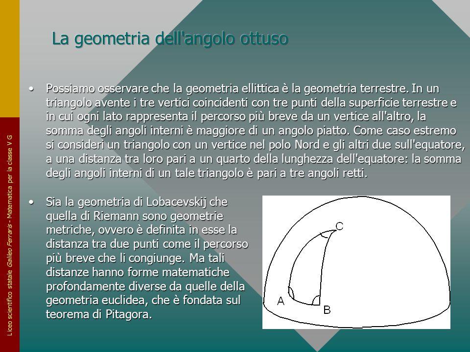 Liceo scientifico statale Galileo Ferraris - Matematica per la classe V G Possiamo osservare che la geometria ellittica è la geometria terrestre. In u