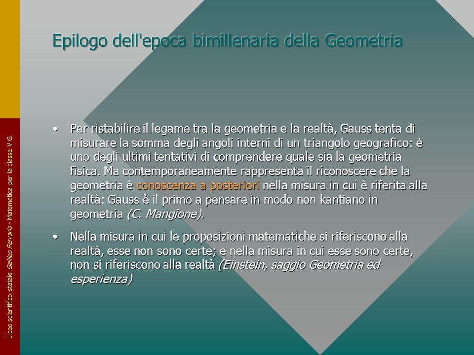 Liceo scientifico statale Galileo Ferraris - Matematica per la classe V G Per ristabilire il legame tra la geometria e la realtà, Gauss tenta di misur
