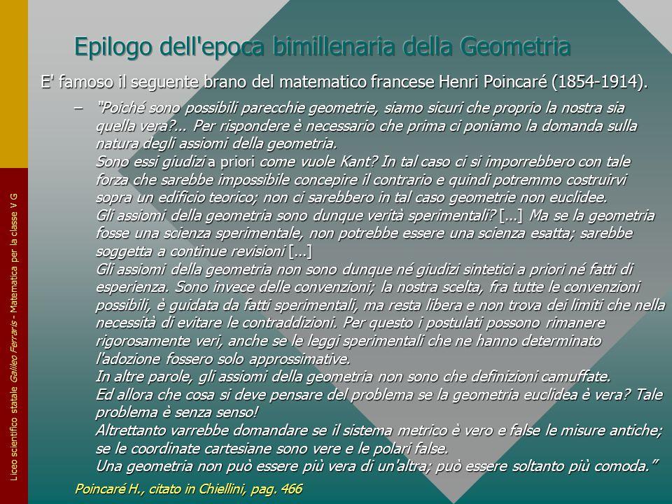 Liceo scientifico statale Galileo Ferraris - Matematica per la classe V G E' famoso il seguente brano del matematico francese Henri Poincaré (1854-191