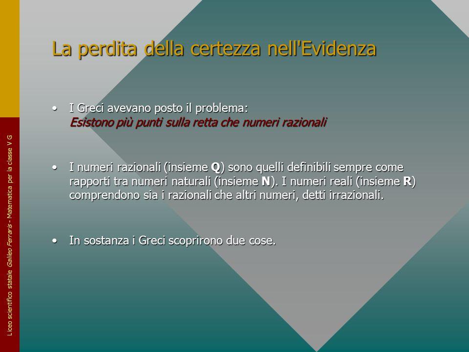 Liceo scientifico statale Galileo Ferraris - Matematica per la classe V G La perdita della certezza nell'Evidenza I Greci avevano posto il problema: E