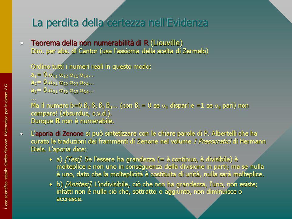 Liceo scientifico statale Galileo Ferraris - Matematica per la classe V G Teorema della non numerabilità di R (Liouville) Dim. per abs. di Cantor (usa
