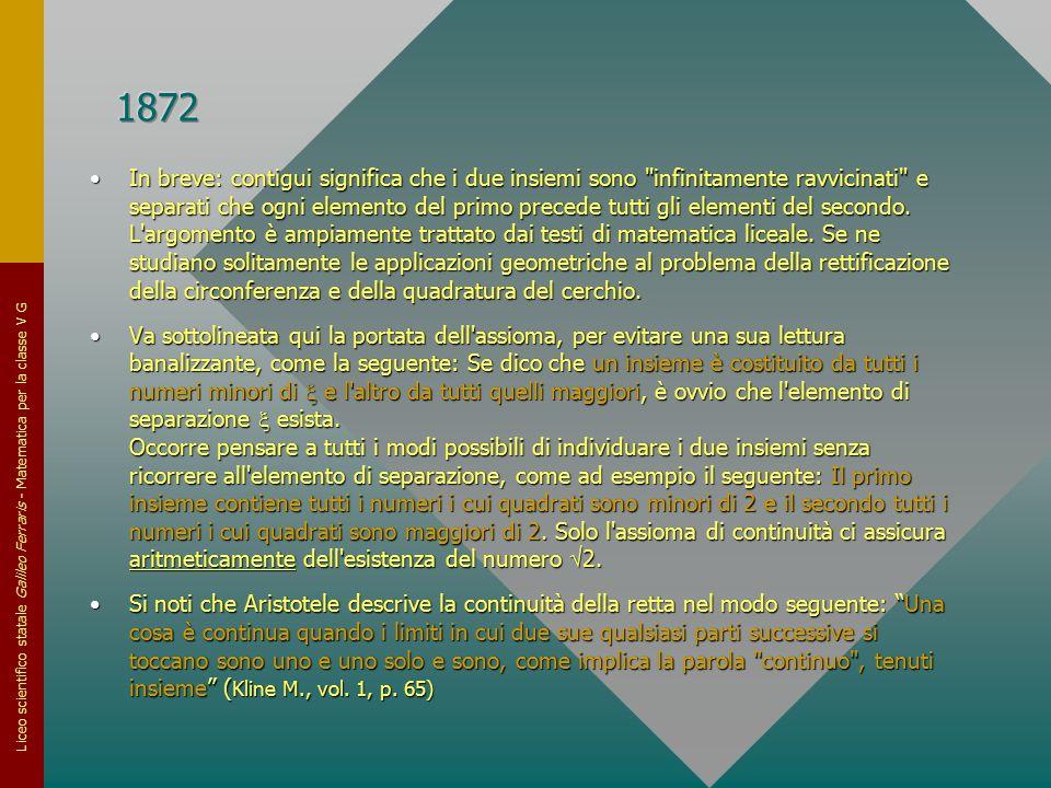 Liceo scientifico statale Galileo Ferraris - Matematica per la classe V G In breve: contigui significa che i due insiemi sono
