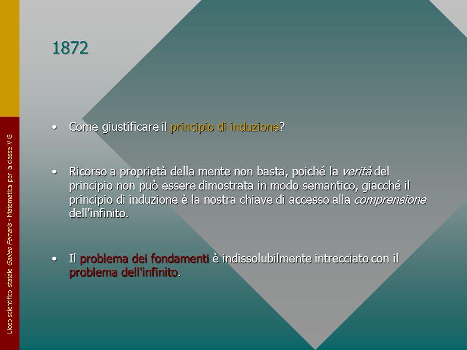 Liceo scientifico statale Galileo Ferraris - Matematica per la classe V G Come giustificare il principio di induzione?Come giustificare il principio d