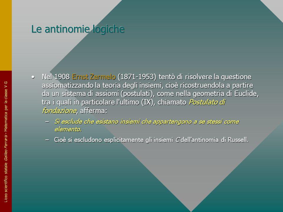 Liceo scientifico statale Galileo Ferraris - Matematica per la classe V G Nel 1908 Ernst Zermelo (1871-1953) tentò di risolvere la questione assiomati