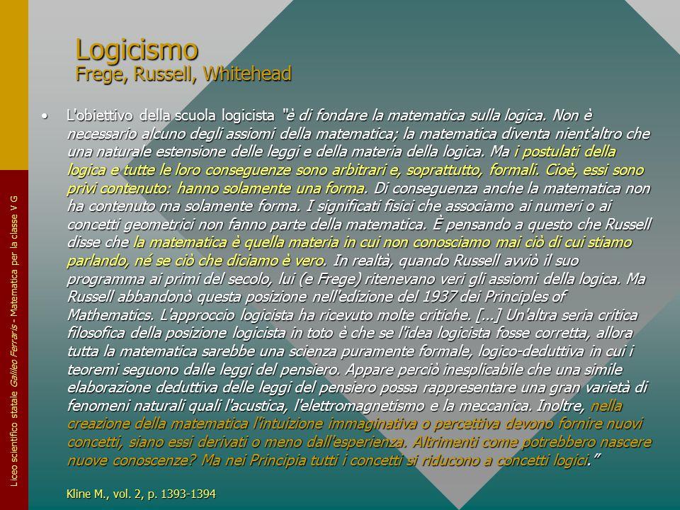 """Liceo scientifico statale Galileo Ferraris - Matematica per la classe V G Logicismo Frege, Russell, Whitehead L'obiettivo della scuola logicista """"è di"""