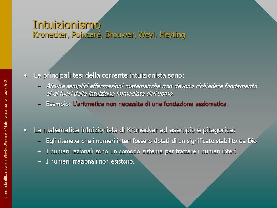 Liceo scientifico statale Galileo Ferraris - Matematica per la classe V G Intuizionismo Kronecker, Poincaré, Brouwer, Weyl, Heyting Le principali tesi