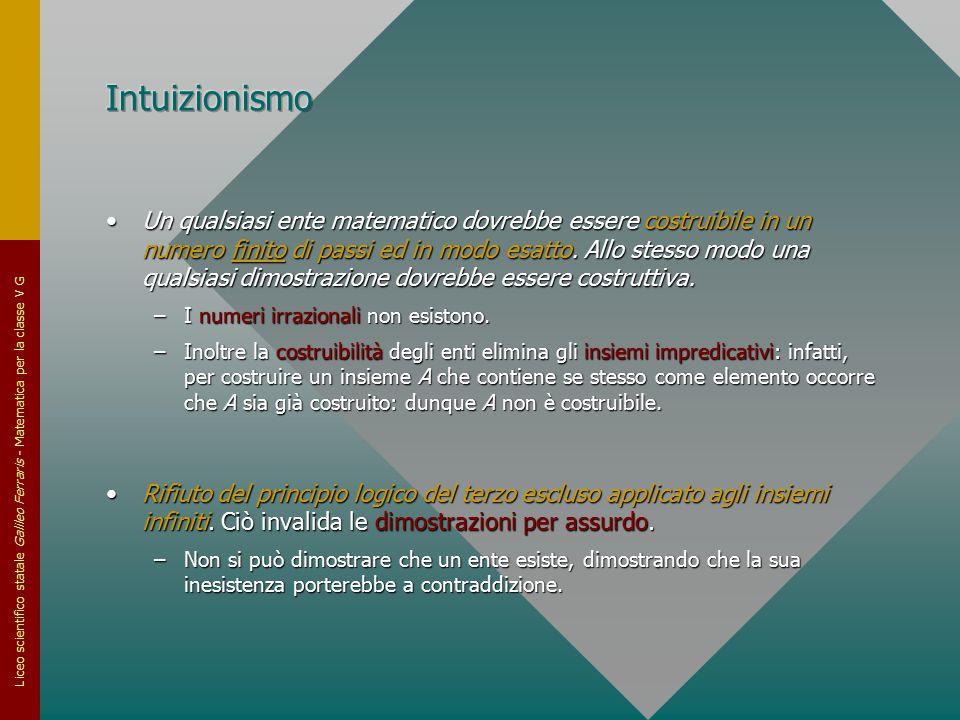 Liceo scientifico statale Galileo Ferraris - Matematica per la classe V G Un qualsiasi ente matematico dovrebbe essere costruibile in un numero finito