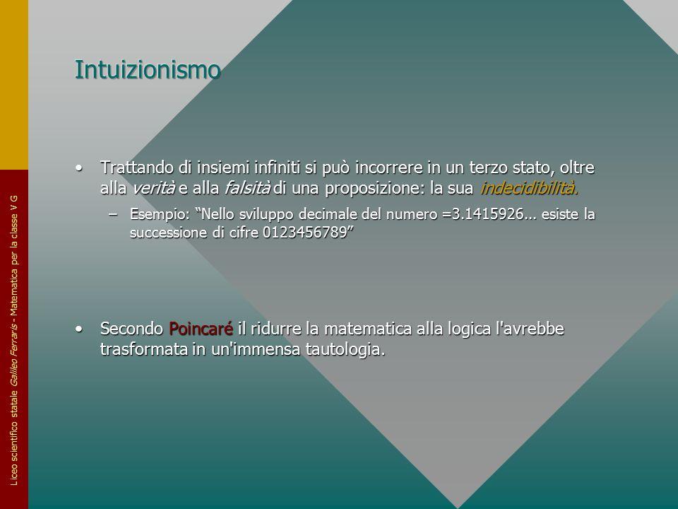 Liceo scientifico statale Galileo Ferraris - Matematica per la classe V G Trattando di insiemi infiniti si può incorrere in un terzo stato, oltre alla