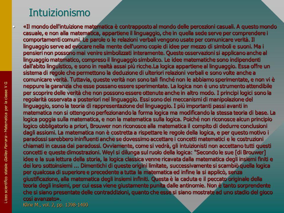 Liceo scientifico statale Galileo Ferraris - Matematica per la classe V G «Il mondo dell'intuizione matematica è contrapposto al mondo delle percezion