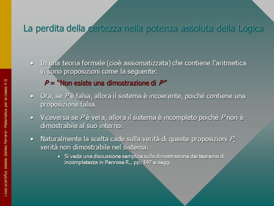 Liceo scientifico statale Galileo Ferraris - Matematica per la classe V G In una teoria formale (cioè assiomatizzata) che contiene l'aritmetica vi son