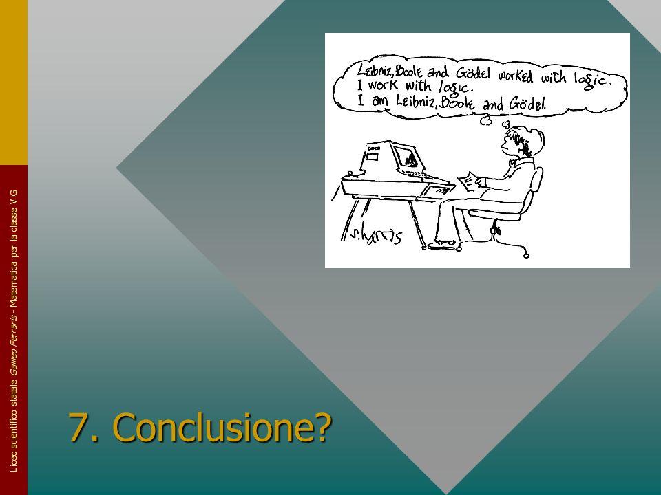 Liceo scientifico statale Galileo Ferraris - Matematica per la classe V G 7. Conclusione?