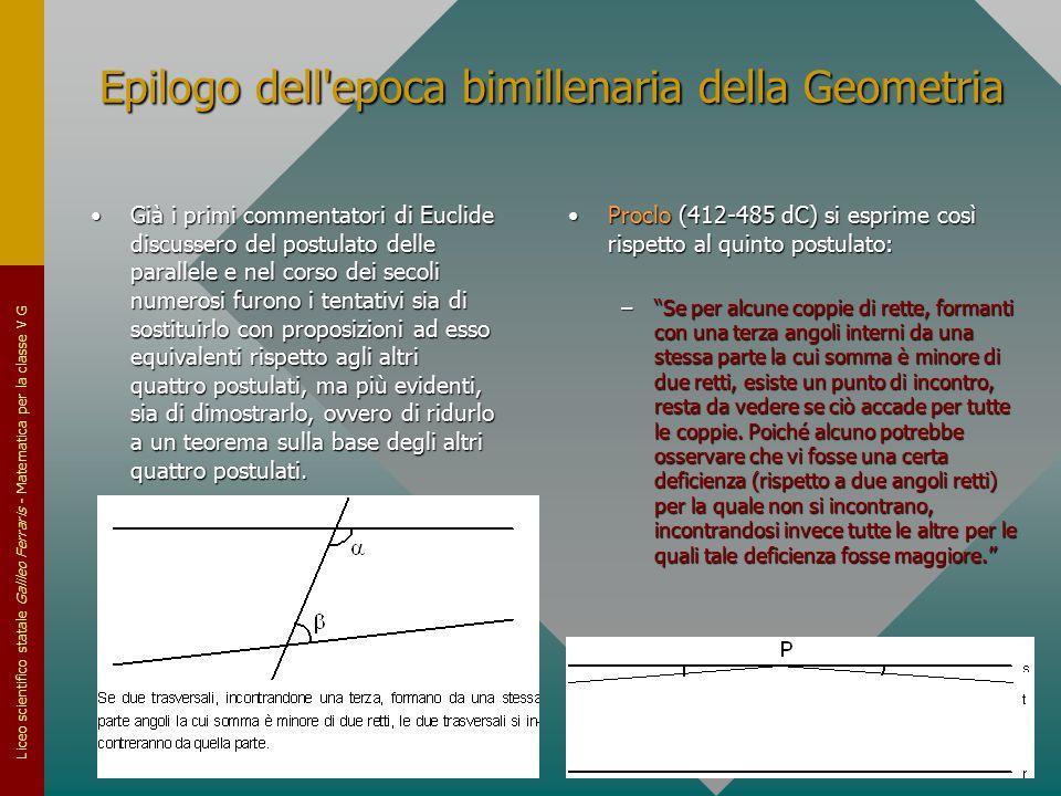 Liceo scientifico statale Galileo Ferraris - Matematica per la classe V G Epilogo dell'epoca bimillenaria della Geometria Già i primi commentatori di