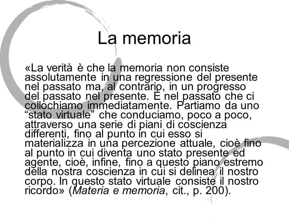La memoria «La verità è che la memoria non consiste assolutamente in una regressione del presente nel passato ma, al contrario, in un progresso del passato nel presente.