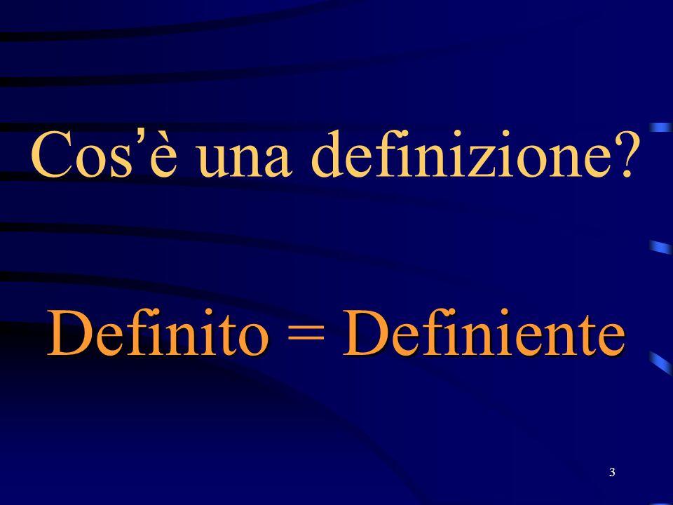 3 Cos ' è una definizione? DefinitoDefiniente Definito = Definiente