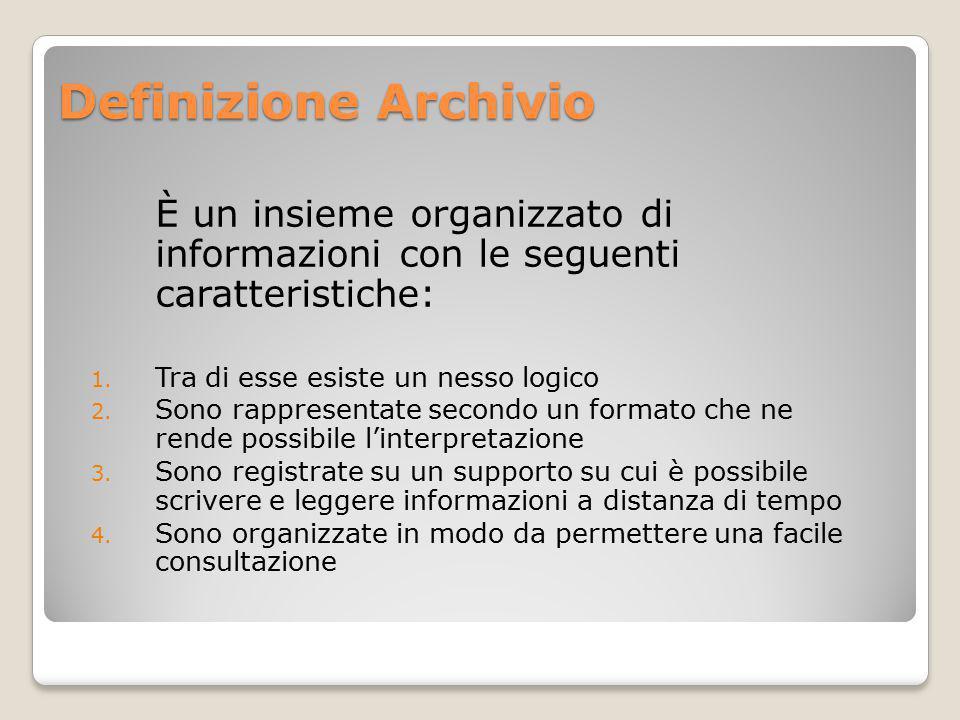 Definizione Archivio È un insieme organizzato di informazioni con le seguenti caratteristiche: 1.