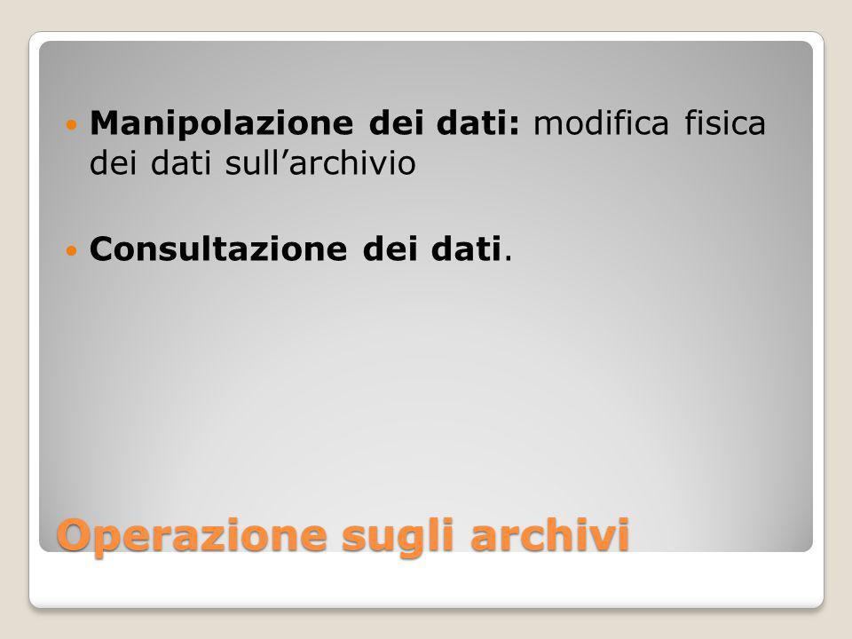 Operazione sugli archivi Manipolazione dei dati: modifica fisica dei dati sull'archivio Consultazione dei dati.