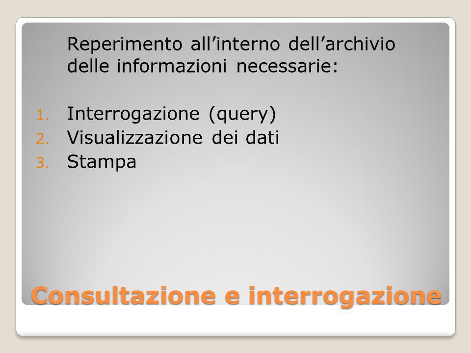 Consultazione e interrogazione Reperimento all'interno dell'archivio delle informazioni necessarie: 1.
