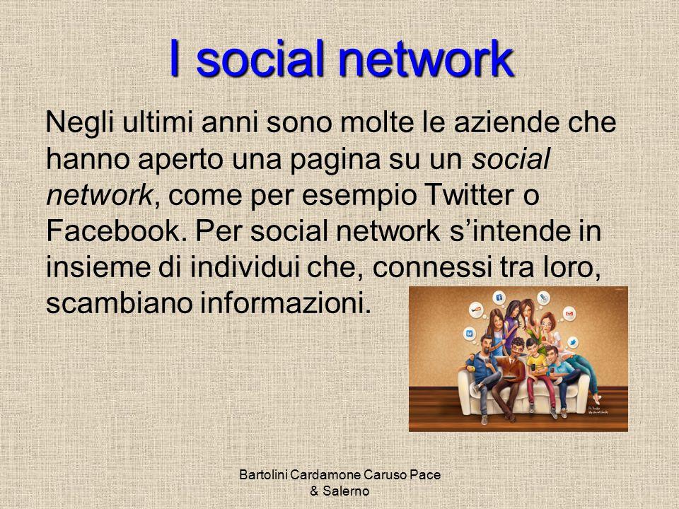 I socialnetwork I social network Negli ultimi anni sono molte le aziende che hanno aperto una pagina su un social network, come per esempio Twitter o Facebook.