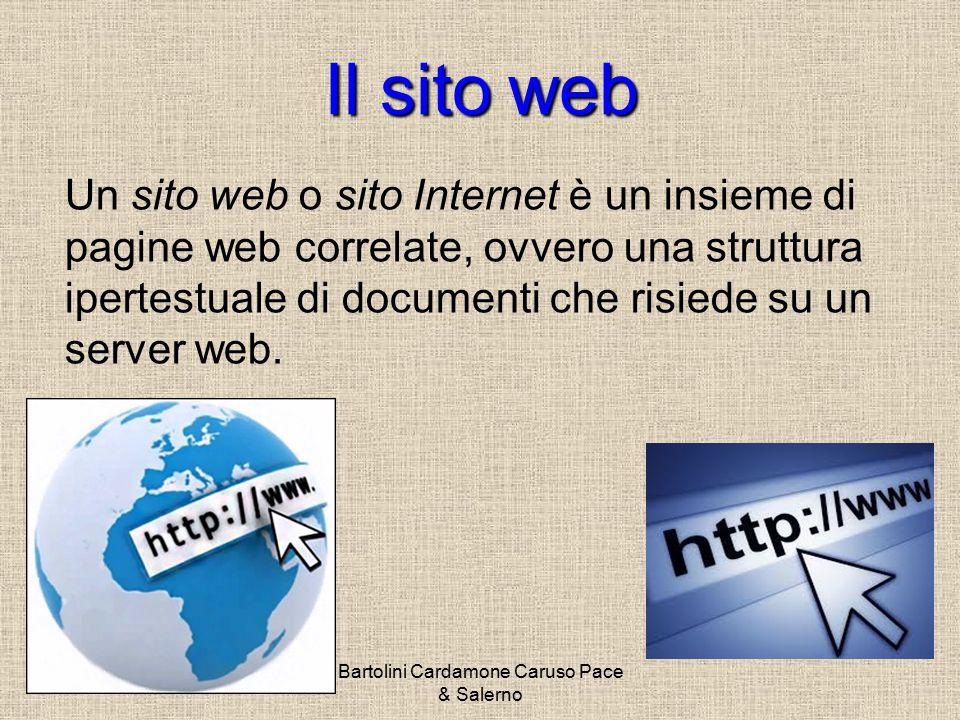 Bartolini Cardamone Caruso Pace & Salerno Il sitoweb Il sito web Un sito web o sito Internet è un insieme di pagine web correlate, ovvero una struttura ipertestuale di documenti che risiede su un server web.