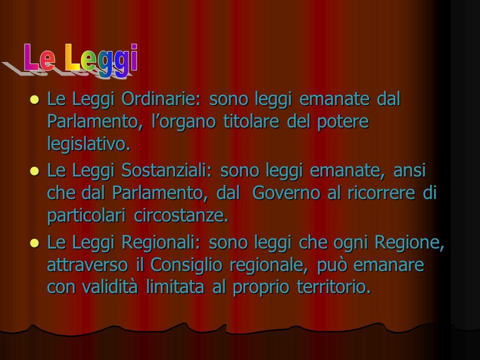 Le Leggi Ordinarie: sono leggi emanate dal Parlamento, l'organo titolare del potere legislativo. Le Leggi Ordinarie: sono leggi emanate dal Parlamento