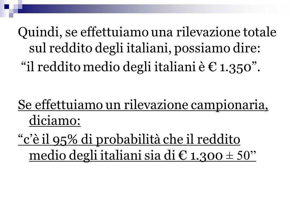 """Quindi, se effettuiamo una rilevazione totale sul reddito degli italiani, possiamo dire: """"il reddito medio degli italiani è € 1.350"""". Se effettuiamo u"""