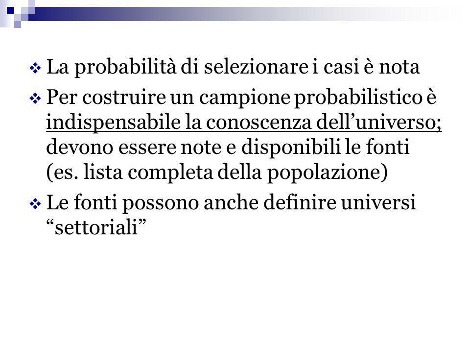  La probabilità di selezionare i casi è nota  Per costruire un campione probabilistico è indispensabile la conoscenza dell'universo; devono essere n