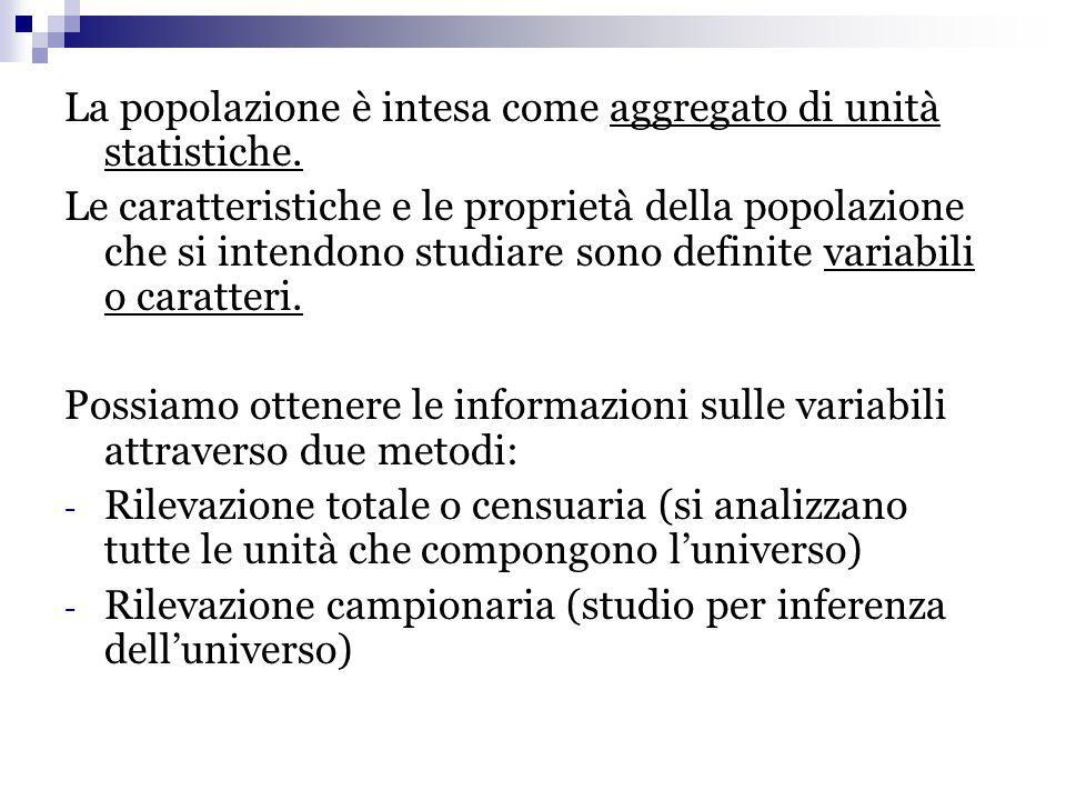 La popolazione è intesa come aggregato di unità statistiche. Le caratteristiche e le proprietà della popolazione che si intendono studiare sono defini