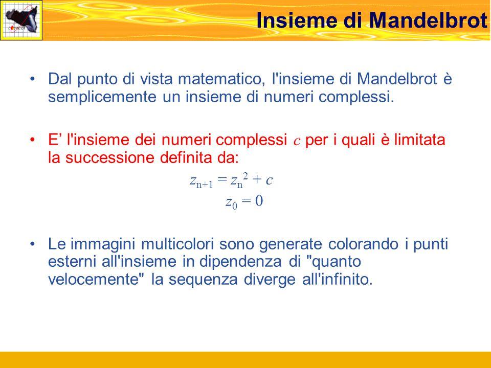 Dal punto di vista matematico, l insieme di Mandelbrot è semplicemente un insieme di numeri complessi.