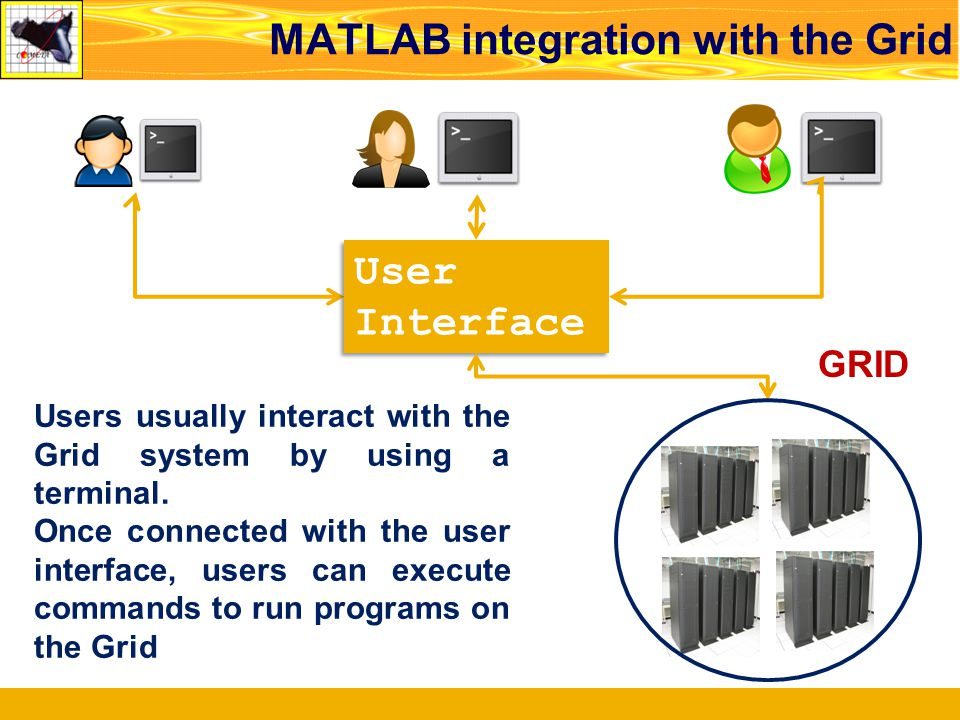 MATLAB integration with the Grid GRID Users usually interact with the Grid system by using a terminal. Once connected with the user interface, users c