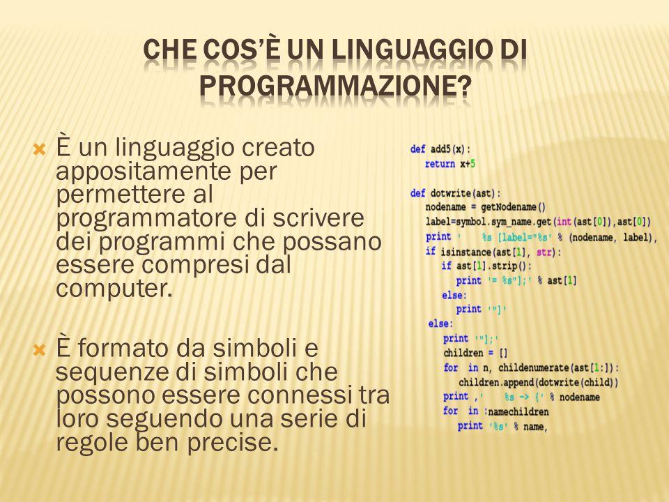  È un linguaggio creato appositamente per permettere al programmatore di scrivere dei programmi che possano essere compresi dal computer.  È formato