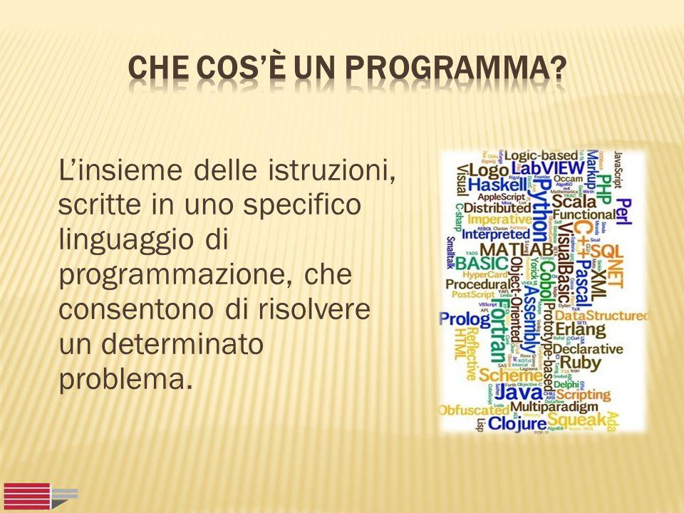 L'insieme delle istruzioni, scritte in uno specifico linguaggio di programmazione, che consentono di risolvere un determinato problema.