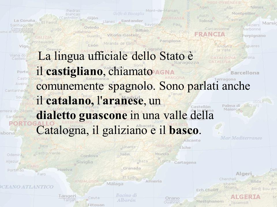 La lingua ufficiale dello Stato è il castigliano, chiamato comunemente spagnolo. Sono parlati anche il catalano, l'aranese, un dialetto guascone in un