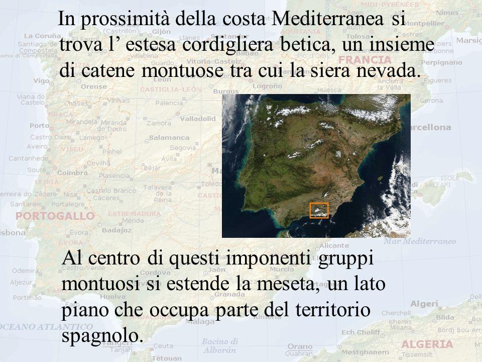 In prossimità della costa Mediterranea si trova l' estesa cordigliera betica, un insieme di catene montuose tra cui la siera nevada. Al centro di ques