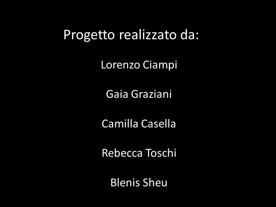 Progetto realizzato da: Lorenzo Ciampi Gaia Graziani Camilla Casella Rebecca Toschi Blenis Sheu Valentina Ferrarese