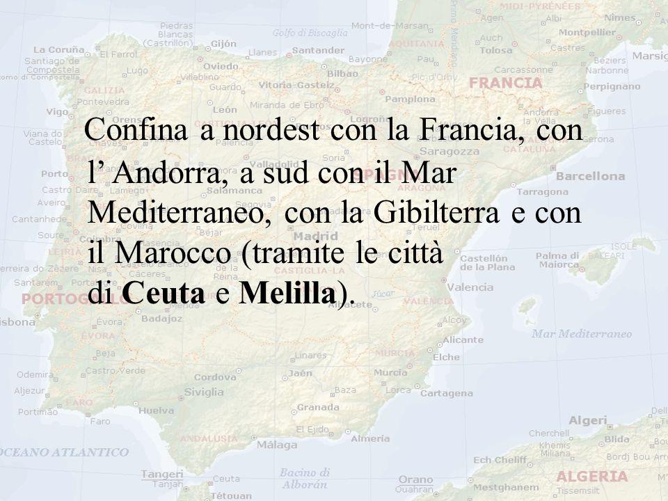 Confina a nordest con la Francia, con l' Andorra, a sud con il Mar Mediterraneo, con la Gibilterra e con il Marocco (tramite le città di Ceuta e Melil